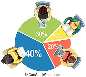 Infographic with piechart and business people illustration