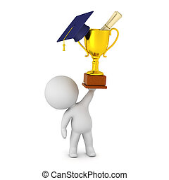 3D Character with Trophy and Diploma - 3D character holding...