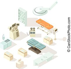 Hospital Equipment Isometric Set - Medical equipment for...