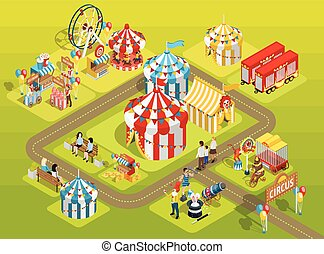 Travel Circus Fairground Isometric Layout Poster - Travel...