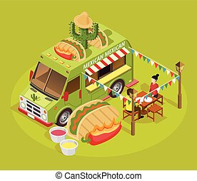 Mexican Food Truck Isometric Advertisement Poster - Mexican...
