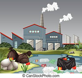 Scene with factory and water pollution illustration