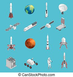 3d Rocket Space Icon Set - Isolated and colored 3d rocket...