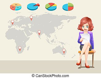 Infographic design with worldmap and businesswoman...