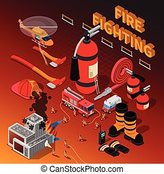 Firefighter Isometric Composition - Firefighter isometric...