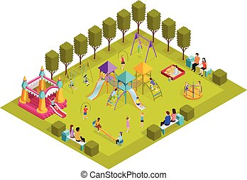 Isometric Kids Playground - Colored 3d isometric kids...
