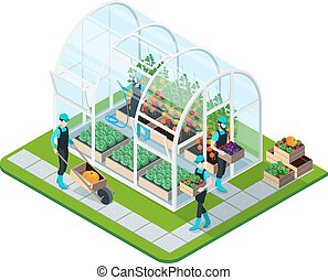 Glass Greenhouse Isometric Template - Glass greenhouse...