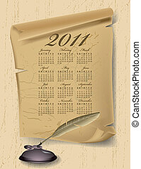 Old paper with calendar 2011 year on wood board Vector...