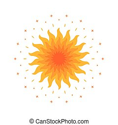 Shining magic sun. Mandala vector