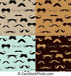 Seamless pattern with mustache on different colors...