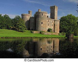 Lake, Montbrun Castle, tower - Border of Limousin and...