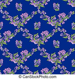 Seamless pattern with flowers on blue backdrop - hand drawn background.