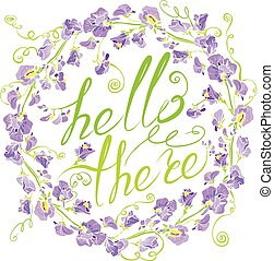Decorative handdrawn floral round frame with sweet pea...