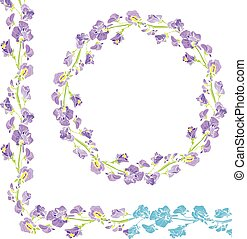Set of ornaments - decorative hand drawn floral border and round frame with  sweet pea flowers, isolated on white background.