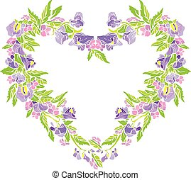 Floral frame in heart shape with flowers, isolated on white background. Seasonal, spring or summer design.