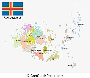 Aland islands administrative and political vector map with...