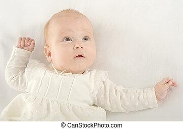Baby girl on blanket - Adorable baby girl on blanket on a...