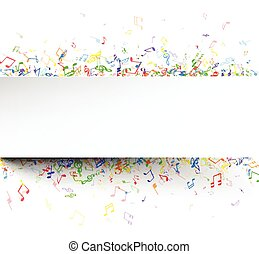 White musical background with notes.