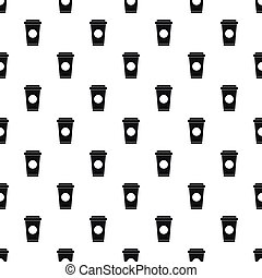 Paper cup of coffee or tea pattern, simple style