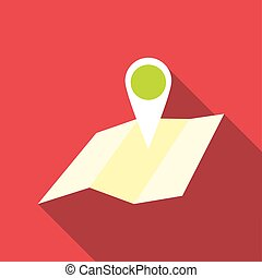 Travel map icon, flat style - Travel map icon. Flat...