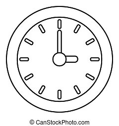 Clock icon, outline style - Clock icon. Outline illustration...