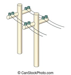 Poles with wires icon, cartoon style