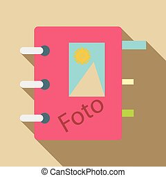 Photo album icon, flat style - Photo album icon. Flat...