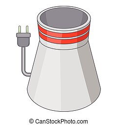 Cooling tower icon, cartoon style