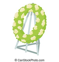 Memorial wreath icon, cartoon style