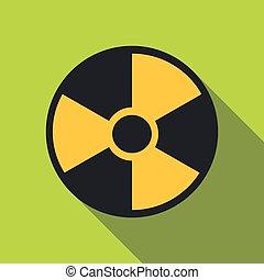 Radiation icon, flat style - Radiation icon. Flat...