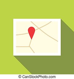 Map icon, flat style - Map icon. Flat illustration of map...