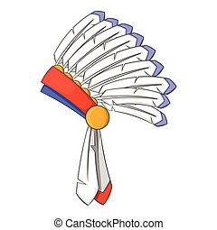 War bonnet icon , cartoon style - War bonnet icon. Cartoon...