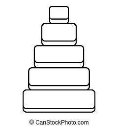Children pyramid icon, outline style - Children pyramid...