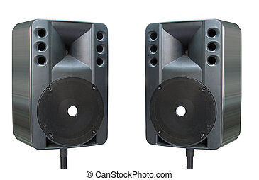 two old powerfull concerto audio speakers isolated on white...