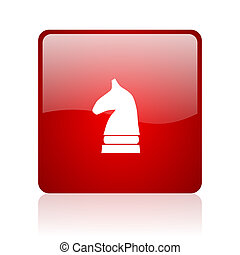 chess horse blue bubble icon - chess horse red square web...