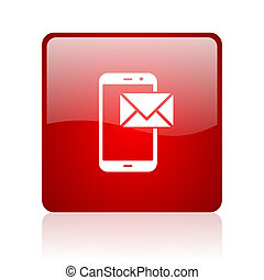 mail blue bubble icon - mail red square web glossy icon