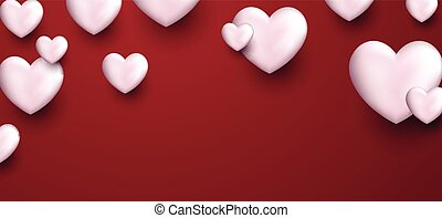 Valentine's love banner with hearts. - Valentine's pink love...