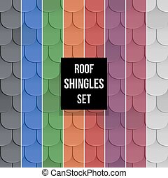 Set of Shingles roof seamless patterns - Set of different...