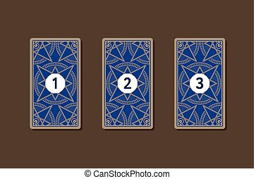 Three card tarot spread. Reverse side 1, 2, 3 numbers