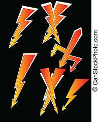 cartoon lights bolt -  vector set lighting bolt illustration