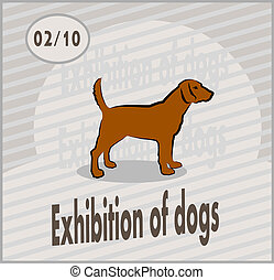 exhibition of dogs - vector postcard advertising the...