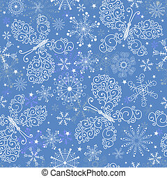 Blue christmas repeating pattern with white snowflakes and...