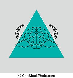 Buffalo head geometric lines silhouette. Vector design...