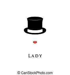 Lady wearing Cylinder hat and lipstick.