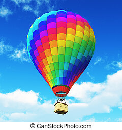 Color rainbow hot air balloon in the blue sky with clouds -...
