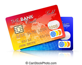 Bank plastic credit cards isolated on white background