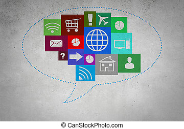 group of colorful application icons, concept of Internet -...
