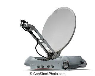 satellite dish parabolic antenna isolated on white