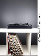 Record player on the disks