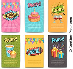 Party Comic Posters - Party comic posters set with fun...